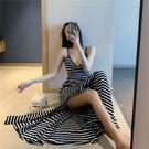 洋裝 性感bm風裙子長款修身顯瘦v領吊帶洋裝女夏季2020新款收腰氣質