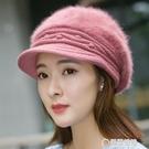 毛帽-兔毛帽子女冬天韓版百搭加厚保暖護耳針織毛線鴨舌帽貝蕾帽蓓蕾帽 草莓妞妞