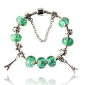 串珠手鍊 925純銀-琉璃飾品綠色鐵塔生日聖誕節禮物女配件73bm190[時尚巴黎]