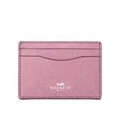 【COACH】防刮皮革亮彩卡夾/名片夾(粉紫色)F15565 SVLL