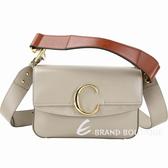 CHLOE C Bag 小款 光滑小牛皮拼接麂皮肩背手提兩用包(灰色) 1930007-06