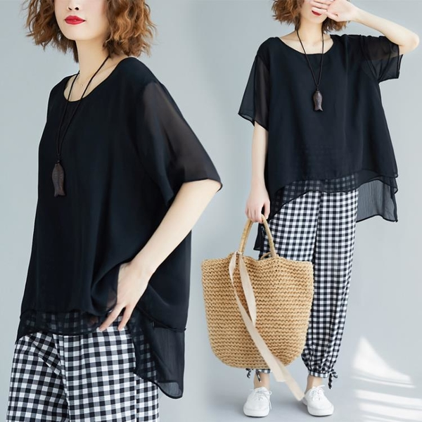 大碼黑色不規則雙層雪紡T恤衫夏裝新品文藝寬鬆輕薄飄逸短袖上衣 中大尺碼T恤
