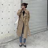 2021春裝新款韓版英倫風氣質時尚外套百搭寬松長款過膝風衣學生女 快速出貨