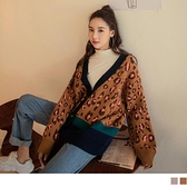 《FA2373》保暖針織配色豹紋開襟長袖外套 OrangeBear