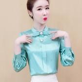 限時特購 襯衫女設計感小眾春裝新款蝴蝶結長袖上衣洋氣職業襯衣打底衫