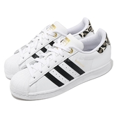 adidas 休閒鞋 Superstar W 白 黑 豹紋 金標 愛迪達 三葉草 女鞋 【ACS】 FX6101