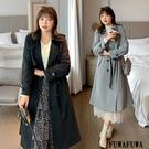 (現貨+預購 FUWAFUWA)-加大尺碼英倫風純色長風衣外套