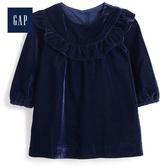 Gap女嬰兒柔軟天鵝絨荷葉邊洋裝497558-海軍藍色