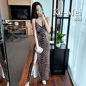 克妹Ke-Mei【AT65841】CRAZY狂野辛辣金絲絨胸墊開叉吊帶長洋裝