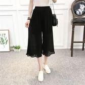 夏裝韓版新款純色百褶高腰顯瘦七分褲鬆緊腰闊腿褲女  凱斯盾數位3C
