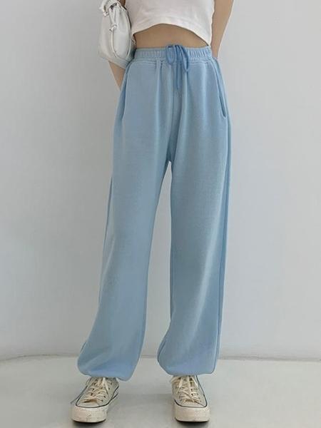 運動褲 設計感小眾束腳休閒長褲女ins衛褲新款高腰顯瘦運動闊腿褲子 快速出貨