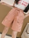 短褲女夏季2021新款學生寬松A字高腰工裝五分褲棉麻闊腿中褲薄款