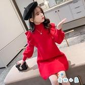 女童公主連身裙秋冬兒童紅色裙子時尚【奇趣小屋】