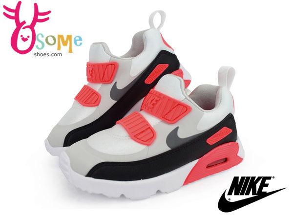 NIKE童鞋 Air Max Tiny 90 飛飛翔翔同款 氣墊 免綁帶 套式休閒鞋N7185#白橘◆OSOME奧森童鞋/