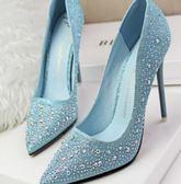 高跟鞋•歐美尖頭細跟淺口水鉆性感婚鞋新娘女鞋(偏小半碼)6色可選 10cm 韓先生