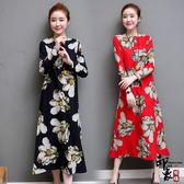 大尺碼洋裝實拍棉麻連身裙復古寬鬆圓領印花A字裙長裙 超值價