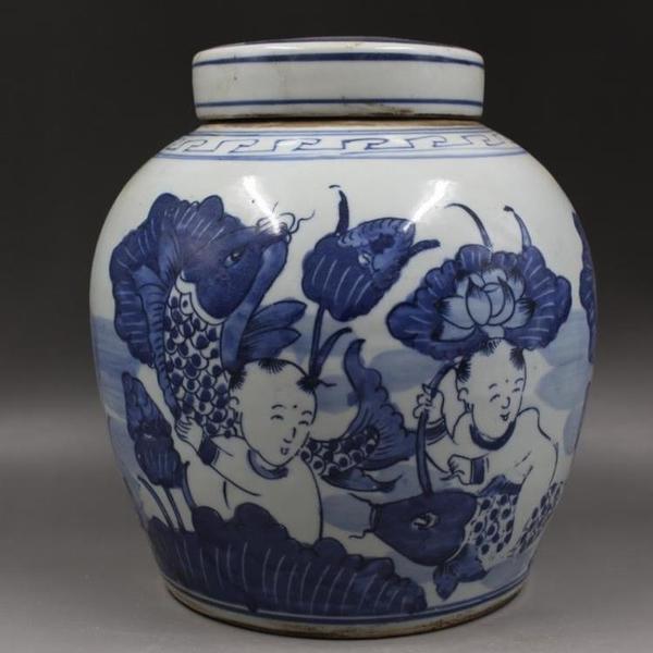 清同治年制青花荷花魚紋茶葉罐家居用品老貨擺件仿古瓷器古董古玩1入