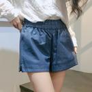 2019秋季新款pu皮短褲女鬆緊腰時尚寬鬆闊腿韓版a字皮褲外穿顯瘦