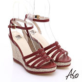 A.S.O 完美涼夏 真皮手工編織楔型涼鞋  正紅