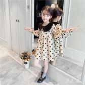 女童洋裝娃娃衫連身裙秋裝小女孩波點長袖翻領洋氣中長款上衣公主韓版 PA9422『男人範』
