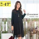黑色洋裝--優雅空花蕾絲拼接開衩寬鬆修身素色圓領長袖連衣裙(黑M-3L)-A364眼圈熊中大尺碼