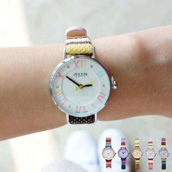 正韓彩色編織錶帶手錶[WJ020]