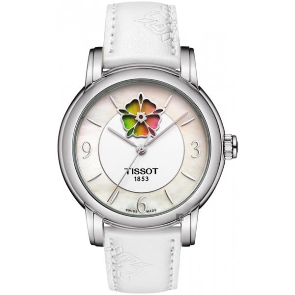 廣告主打 TISSOT 天梭 Lady Heart 花朵鏤空機械女錶-珍珠貝x白/36mm T0502071711705