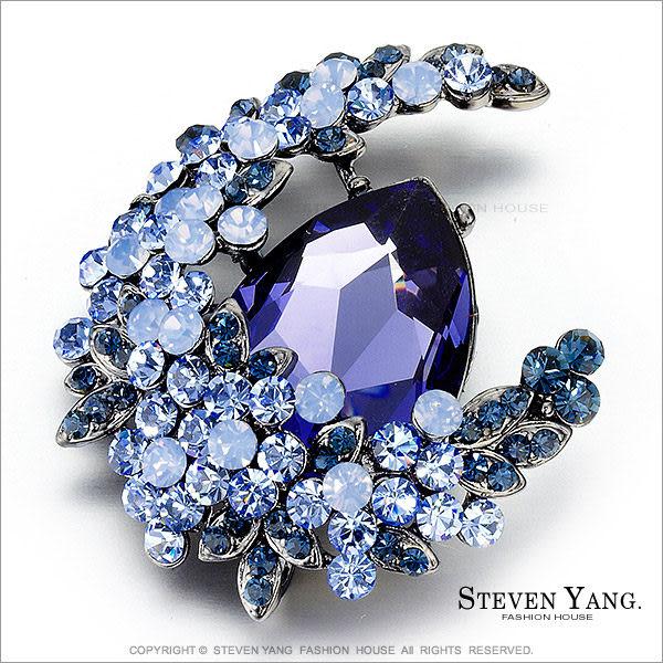 正白K飾「迷幻月光」水晶別針胸針 紫色 母親節禮物