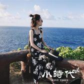 洋裝/連身裙 夏季海邊沙灘裙小清新雪紡印花中長款露背chic吊帶  603-046