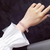 歐美街頭走秀閃亮水鑽網紅手鍊女日韓冷淡網首飾簡約百搭手鐲潮人 降價兩天