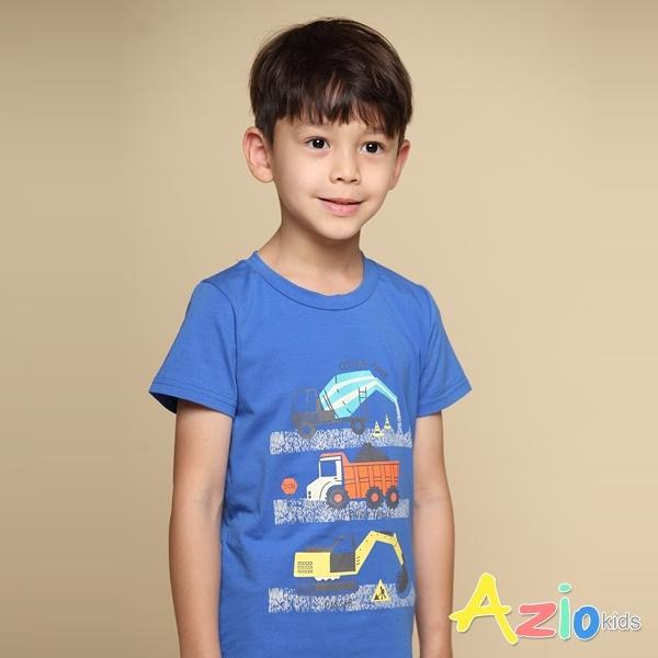 Azio 男童 上衣 工程車彩色印花短袖上衣T恤(藍) Azio Kids 美國派 童裝