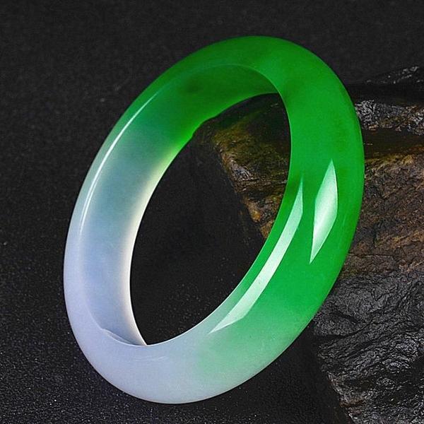 玉翡緣玉石緬甸翡翠冰種陽綠精美半綠半紫玉手鐲女款