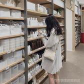 夏裝新款白色百褶襯衣襯衫裙 燈籠袖中長款棉麻少女心仙女連身裙  Cocoa