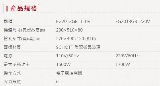 【歐雅系統家具】櫻花 SAKURA EG2013GB電陶爐