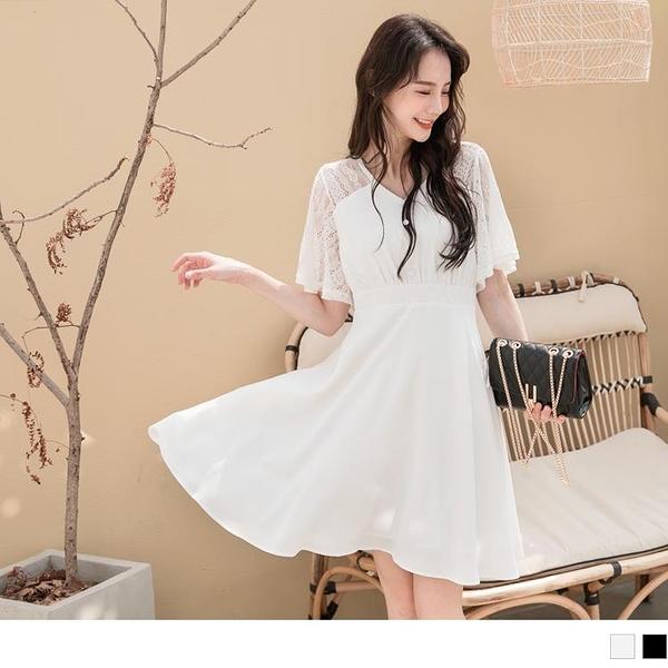 《DA7381-》純色蕾絲透膚拼接露背收腰五分袖洋裝 OB嚴選