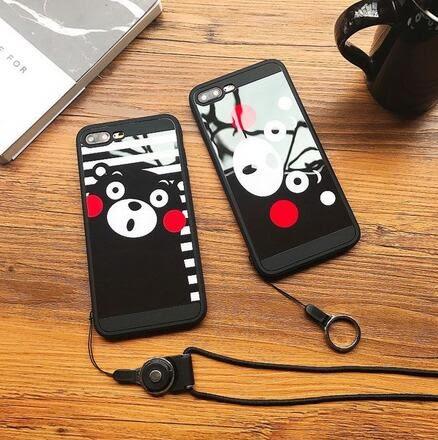【SZ15】iphone 7 plus手機殼 卡通熊本熊鏡面 +掛繩 防摔iphone 6s plus手機殼