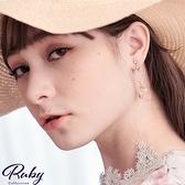 耳環 韓國直送‧愛心花朵串珠不對稱夾式耳環-Ruby s 露比午茶