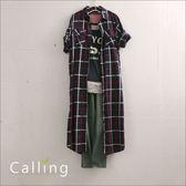 洋裝長版上衣細格紋長版衫附編織腰帶四色Calling1230