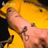 手鍊 嘻哈雙頭骷髏手鐲男士鈦鋼個性網紅手環學生街頭開口手飾