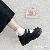 日系小皮鞋女學生學院風2020年春秋夏季新款厚底增高黑色單鞋子  聖誕節免運