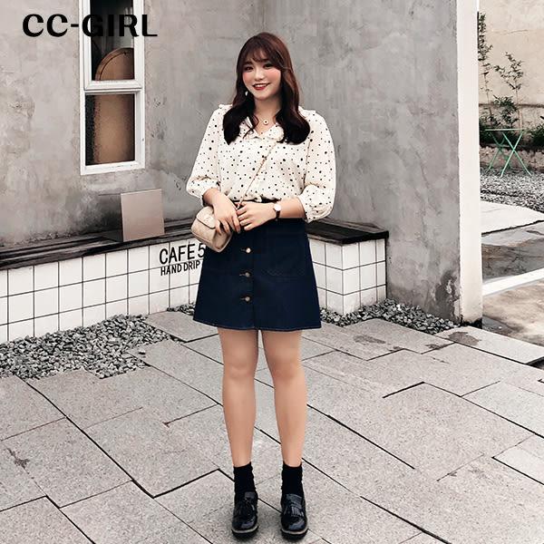 中大尺碼  韓版排釦牛仔A字短裙 - 適XL~5L《 2168HH 》CC-GIRL