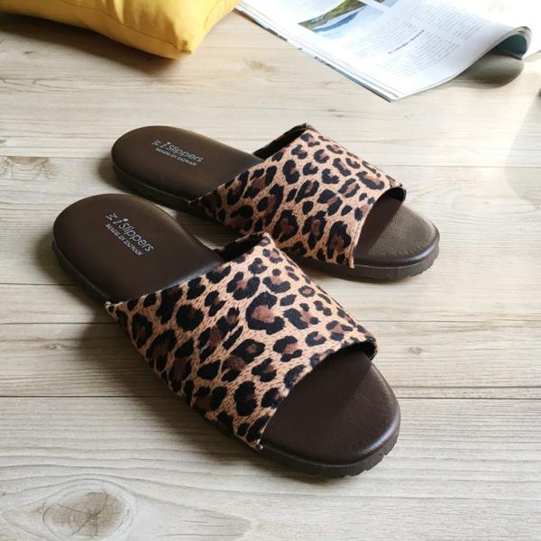 品味系列-布面皮質室內拖鞋-狂野深豹