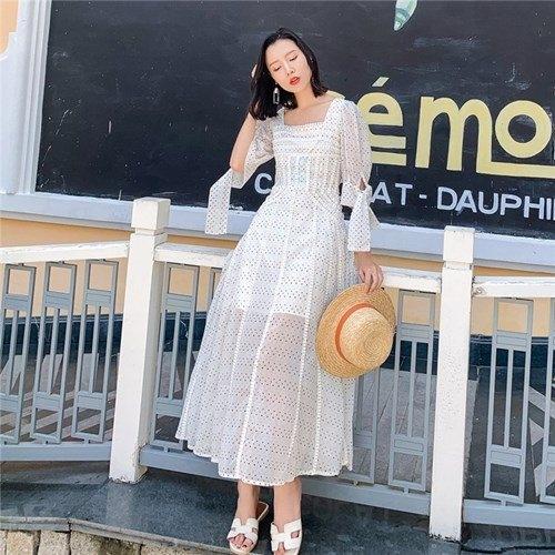 短袖洋裝-蕾絲鏤空花邊平口女連身裙73ye29【巴黎精品】