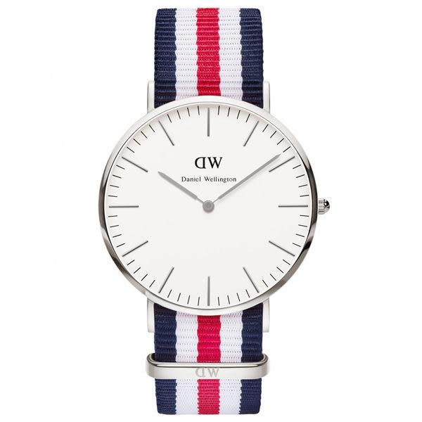 Daniel Wellington Canterbury時尚男錶-/銀框/藍白紅帶0202DW
