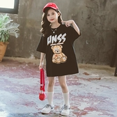 女童T恤 女童夏裝短袖2021新款洋氣韓版中長款兒童寬鬆大T女孩夏季t恤裙潮【快速出貨】