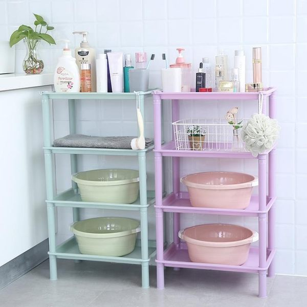 浴室多層塑料整理置物架客廳廚房收納架儲物架浴室化妝品收納架    伊芙莎