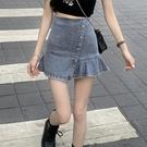高腰牛仔短裙顯瘦小眾百褶a字半身裙女春夏季2021新款不規則裙子 果果輕時尚