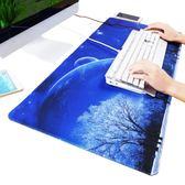 游戲超大大號鼠標墊鎖邊可愛動漫小號加厚筆記本電腦辦公桌墊鍵盤『櫻花小屋』