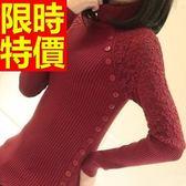 高領毛衣-修身蕾絲斜扣美麗諾羊毛長袖女針織衫4色62z27[巴黎精品]