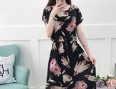 碎花裙 波西米亞夏季棉綢連衣裙女長款短袖修身大碼收腰顯瘦連衣裙子